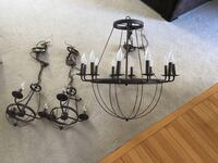 Oil rubbed bronze chandelier and two matching pendants Leesburg, 20175