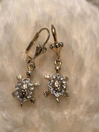 Gold Plated Earrings With Turtles Nashville