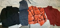 Jeans are 7x.  Shirts are size 8.  Brand van heusen, gymboree,  & geor Dallas, 75287