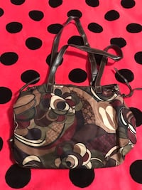 Black, brown, and white floral tote bag