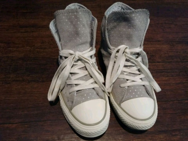 8812674ee087 Used  WOMEN S SIZE 6 SILVER POLKA DOT CONVERSE SHOES!  for sale in ...