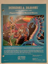 1981, D&D Player Character Record Sheets Westminster