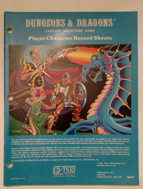 1981, D&D Player Character Record Sheets e8873600-4a8a-4940-af8b-53af036bded9