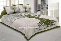 white and green floral bed sheet Delhi
