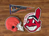 """3 VTG Sports door/wall signs  - CLE Indians, Cavs & Browns (cloth helmet 20"""") - $15 total"""