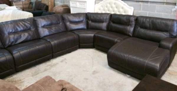 Used Caruso 6pc Italian Leather Sectional Sofa For Sale In Decatur
