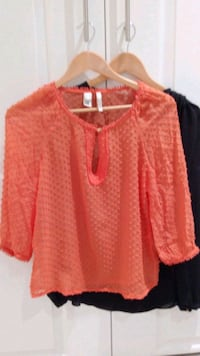 2 Zara tops with gold buttons