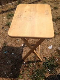 square brown wooden folding table Tacoma, 98444