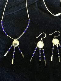 Sterling Silver necklace with long earrings  / Blue beads with silver western style jewelry set Alexandria, 22311