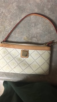 white and brown leather shoulder bag