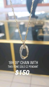 """10k real gold 18"""" chain with cz pendant  Toronto, M1K 1N8"""