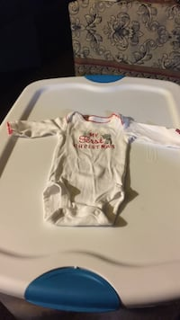 white and red My Firs Christmas long-sleeved onesie Willow Spring, 27592