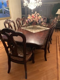 San Marino Pedestal Dining Table and Buffet and Hutch in Sanibel Burbank, 60459
