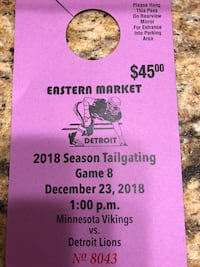 Eastern Market Parking and Tailgate Spot for December 23rd Detroit Lions Game 377 mi