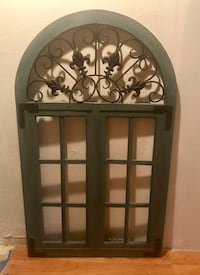 """Rustic, Distressed Blue Wood and Ornate Iron   Arch Window Pane Wall Decor. Dimensions 47.5"""" x 28"""". Great looking piece. Carlsbad, 92009"""