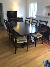 Rectangular brown wooden table with six wicker chairs dining set San Diego, 92116