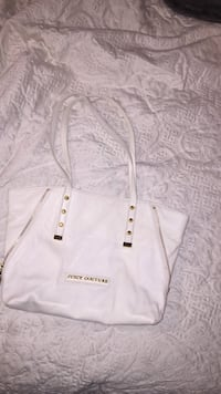 white Juicy Couture leather tote bag