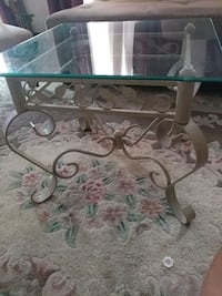 Square clear glass top side table cream iron.l  Gaithersburg, 20879