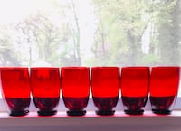 Vintage ruby red water glasses, 6 Silver Spring, 20904