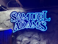 Blue and white Sam Adams  neon signage Lowell, 01851