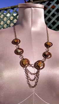 NEW,Bronze and Picasso Jasper statement necklace Surprise