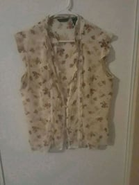 women's white and pink floral sleeveless top 2158 mi