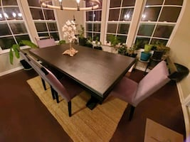 Dining Table , 4 chairs and a bench