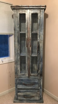 Blue/gray wooden display cabinet