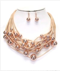 Multi layered suede chain and metal ball necklace  728 mi