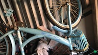 gray and blue bicycle wheel