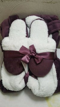 robe/slipper set coice of blue, purple or cranberry sizes S/M and L/XL
