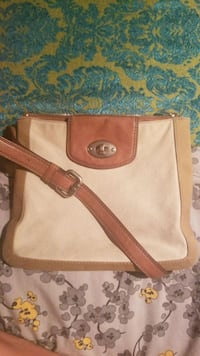 Fossil Beige & brown canvas/leather crossbody bag Calgary, T2L
