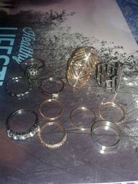 silver-colored and gold-colored ring lot