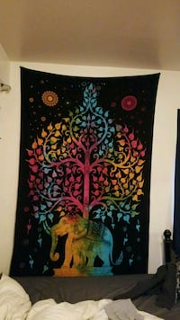black elephant and tree tapestry Pittsburgh, 15206