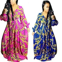 two women's pink and blue long-sleeved dresses