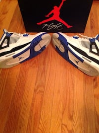 white-and-blue Air Jordan 5's Brampton