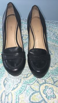 Black leather nine west high heel loafers Vancouver, V5T 1B3