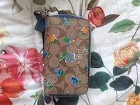 brown and green floral leather wristlet