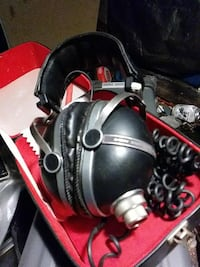 black and silver corded headset