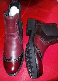 Leather women's boots burgundy