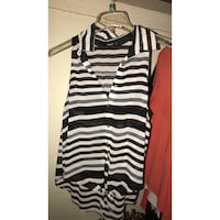 women's black and white striped sleeveless button-up top Imperial, 92251