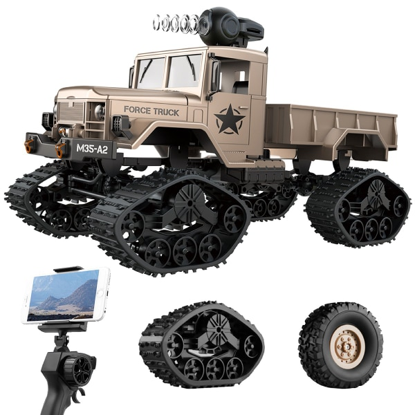 New RC Hobby Toys Military Truck Off-Road Sport Cars 4WD 2.4Ghz Rock Crawler Vehicle with Wi-Fi HD Camera Gifts for Kids and Adults