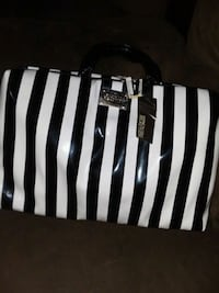 white and black stripe leather tote bag Phoenix, 85019