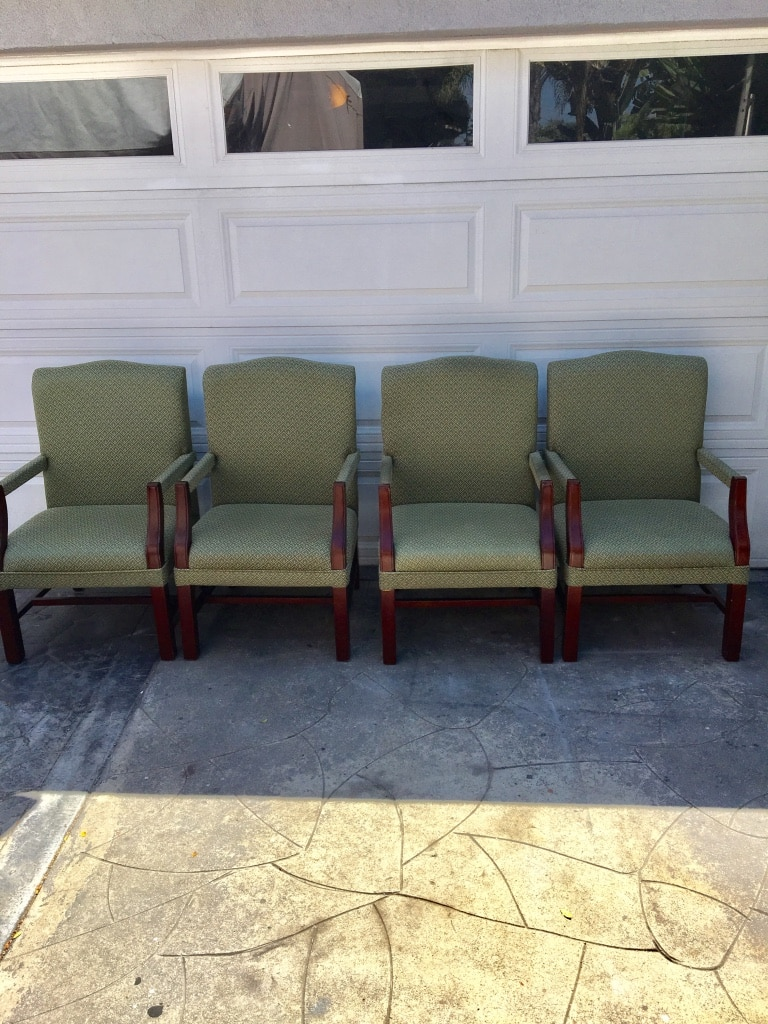 4 Beautifully Crafted Upholstered Wooden Accent Chairs $35 Each Like New  Excellent Condition. Perfect For Office Waiting Room Chairs Or Dining Room  ...