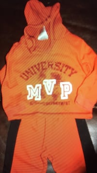 Orage university mvp pullover hoodie with black and orange sweatpants outfit London, N5Y 4M3