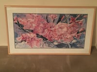 Pink and white flowers painting with brown wooden frame Kent, 98042