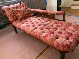 Antique Chaise Lounge (Lounge Chair) - Red Floral Couch