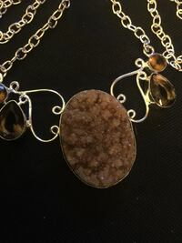 brown oval bubble silver necklace Largo, 33770