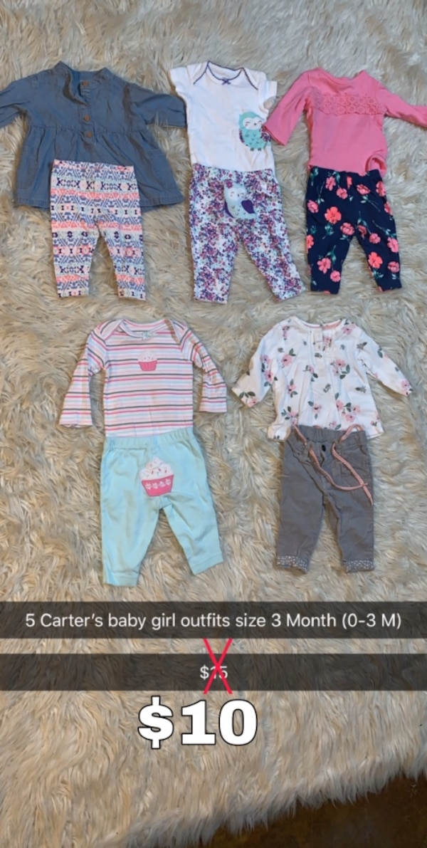 Used 5 Carter S Baby Girl Outfits Clothes 3 Month 0 3 M Shirts