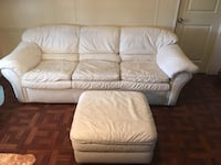 Flex Steel-Genuine White Leather Coach & White Leather Ottoman, Great Condition, Pick Up In North Lakeland, Beautiful & Comfy Coach, Lakeland, 33810
